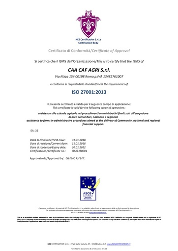 CAA CAF AGRI - Certificazione ISO 27001
