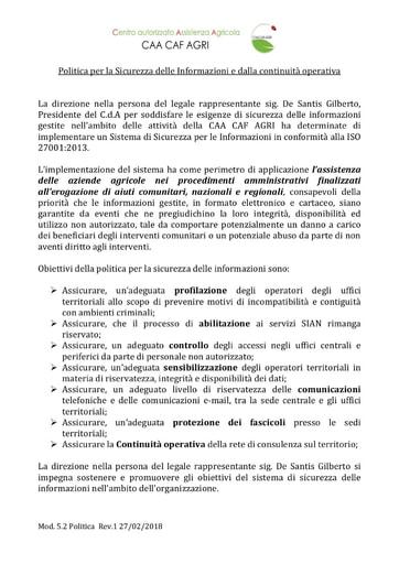 CAA CAF AGRI - Politica per la sicurezza delle informazioni