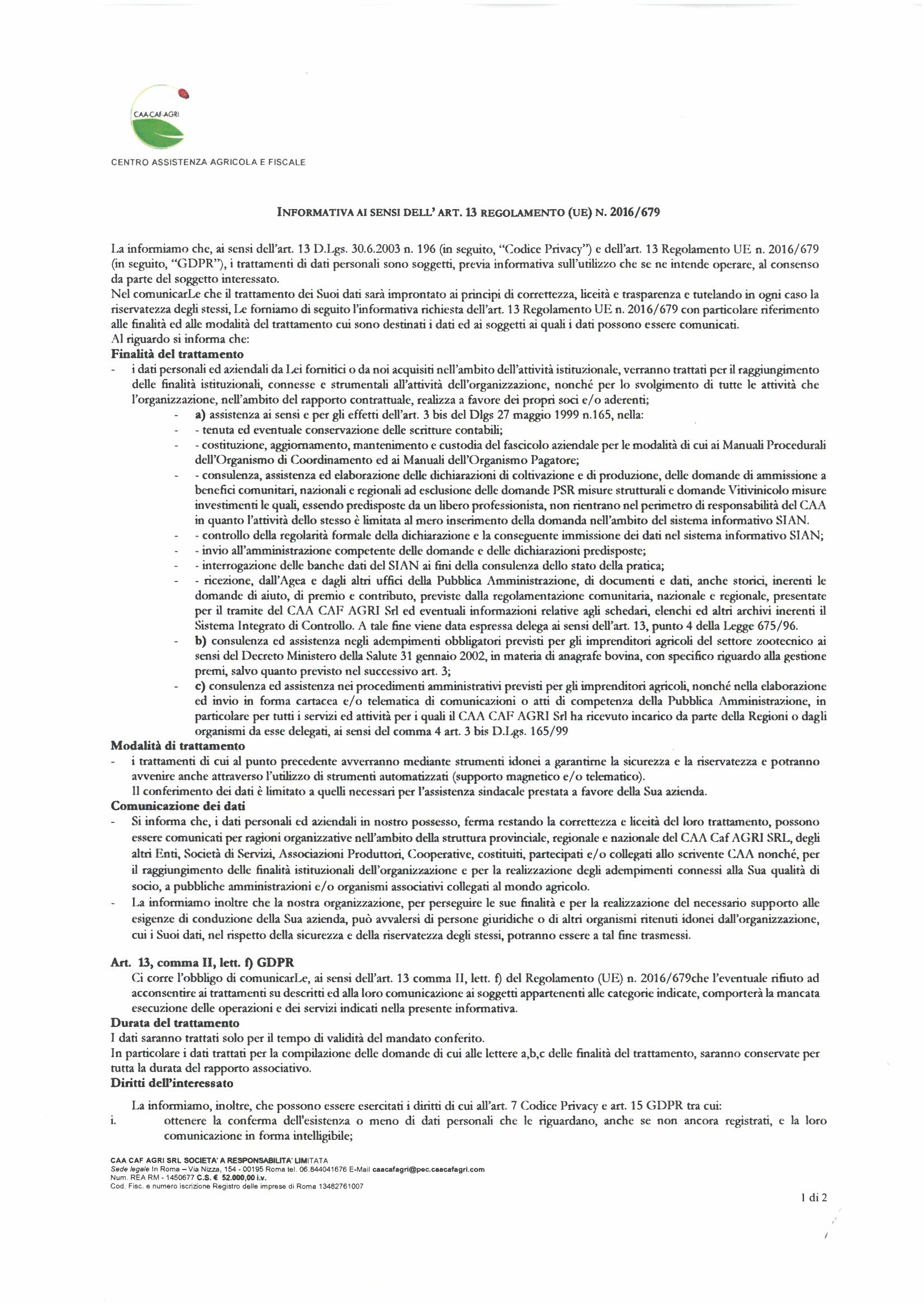 CAA CAF AGRI - Informativa Privacy